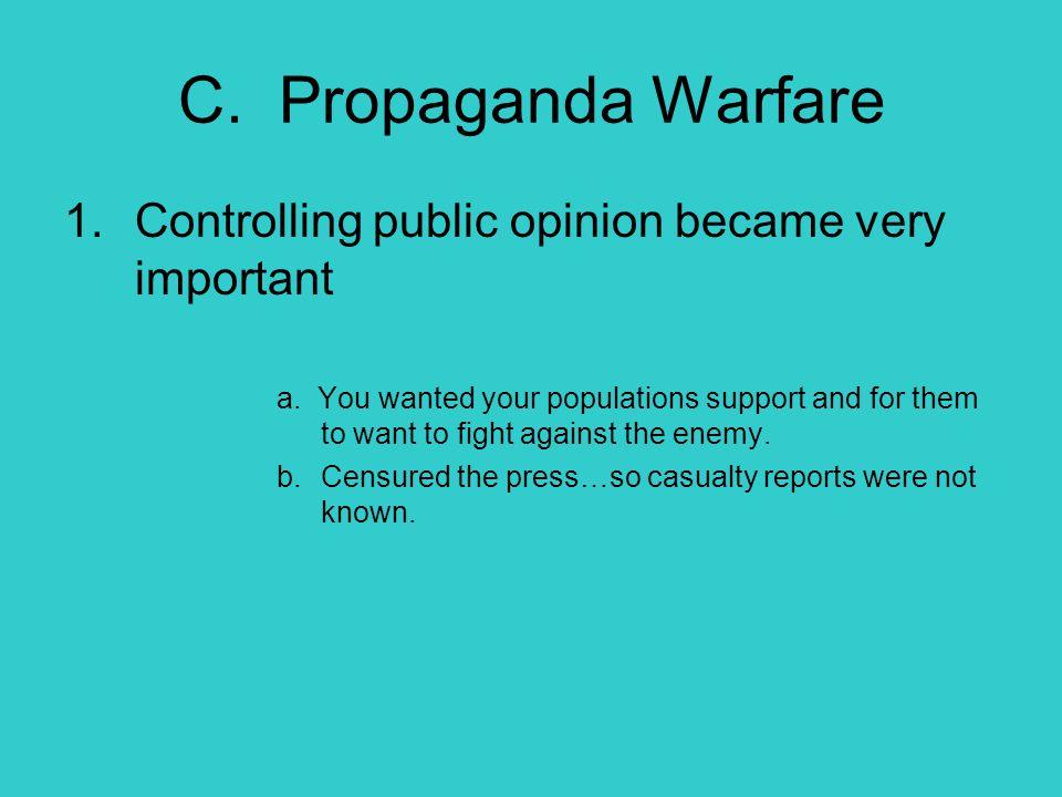 C. Propaganda Warfare Controlling public opinion became very important