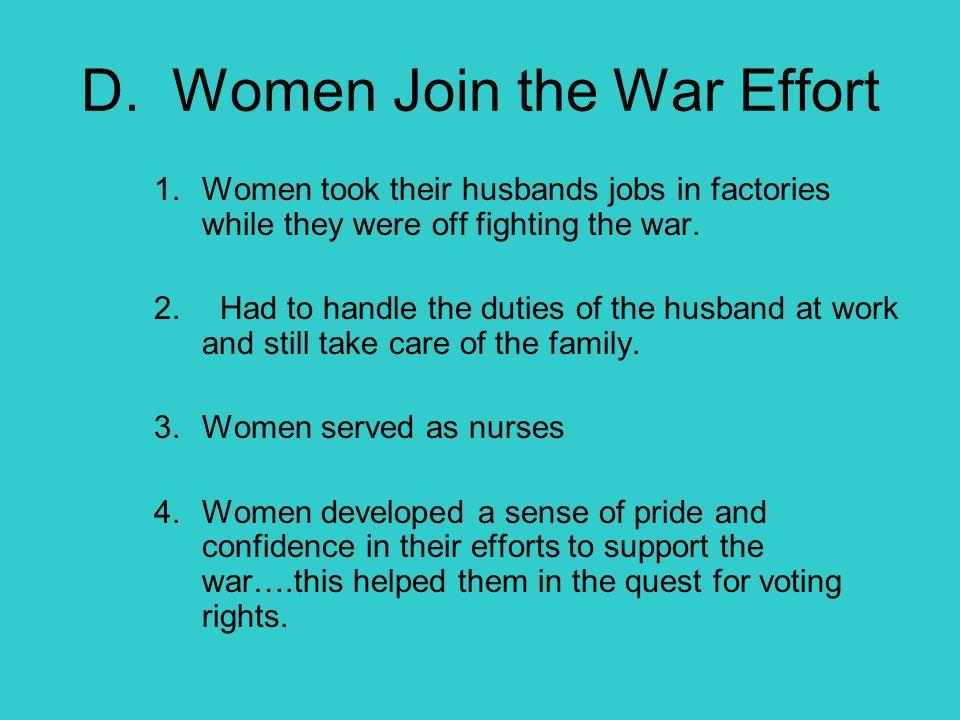 D. Women Join the War Effort