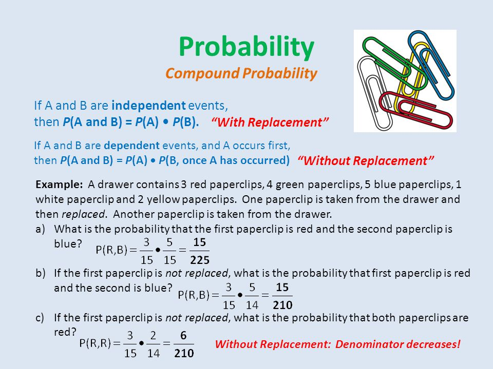 Probability Compound Probability If A and B are independent events,