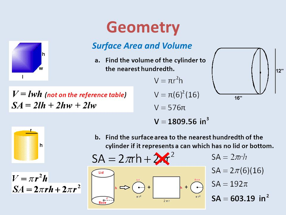 Geometry Surface Area and Volume V = lwh (not on the reference table)