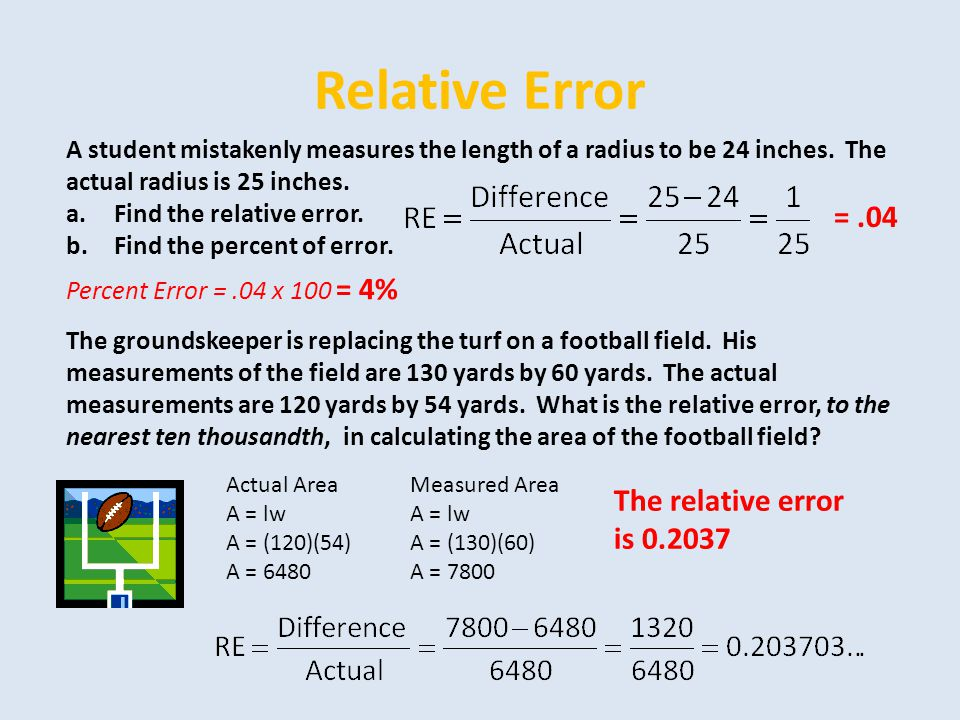 Relative Error = .04 The relative error is