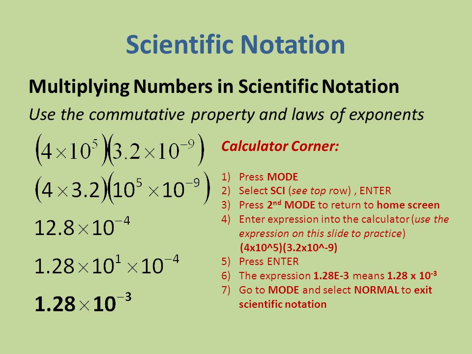Scientific Notation Multiplying Numbers in Scientific Notation