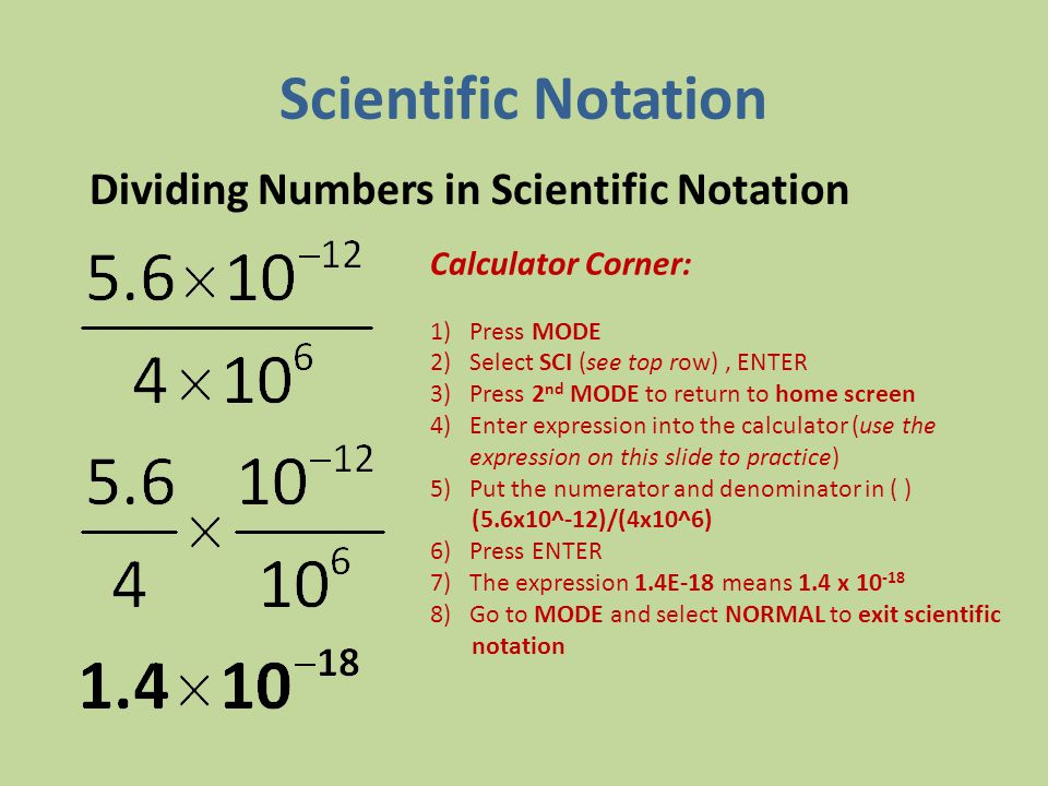 Scientific Notation Dividing Numbers in Scientific Notation