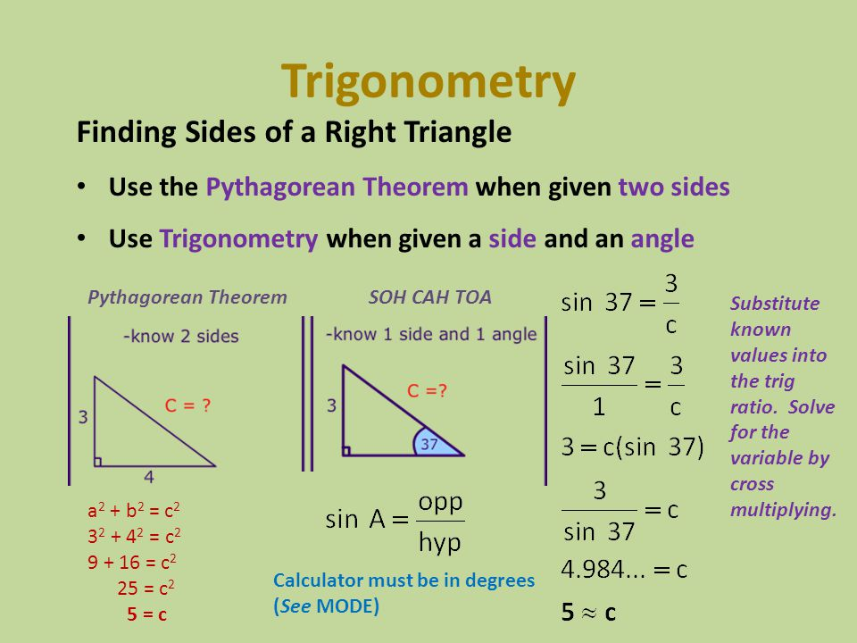 Trigonometry Finding Sides of a Right Triangle