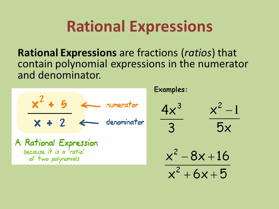 Rational Expressions Rational Expressions are fractions (ratios) that contain polynomial expressions in the numerator and denominator.