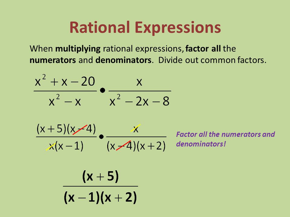 Rational Expressions When multiplying rational expressions, factor all the numerators and denominators. Divide out common factors.