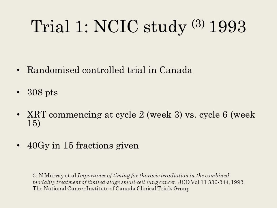 Trial 1: NCIC study (3) 1993 Randomised controlled trial in Canada