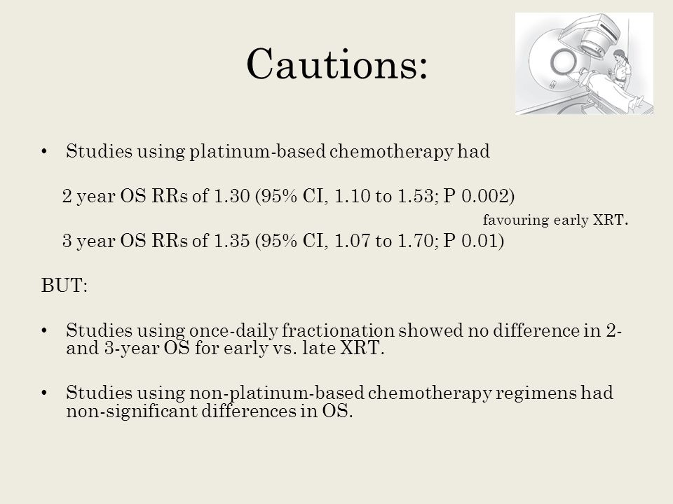 Cautions: Studies using platinum-based chemotherapy had