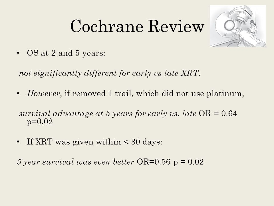 Cochrane Review OS at 2 and 5 years: