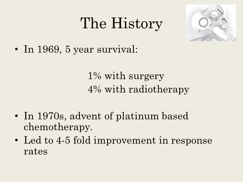 The History In 1969, 5 year survival: 1% with surgery