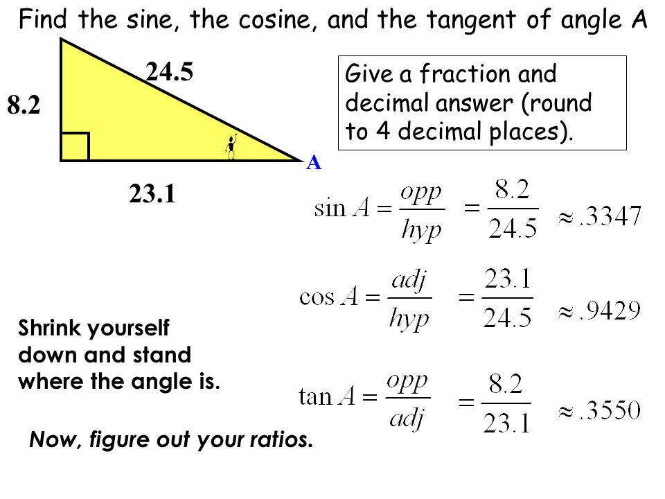 24.5 8.2 23.1 Find the sine, the cosine, and the tangent of angle A
