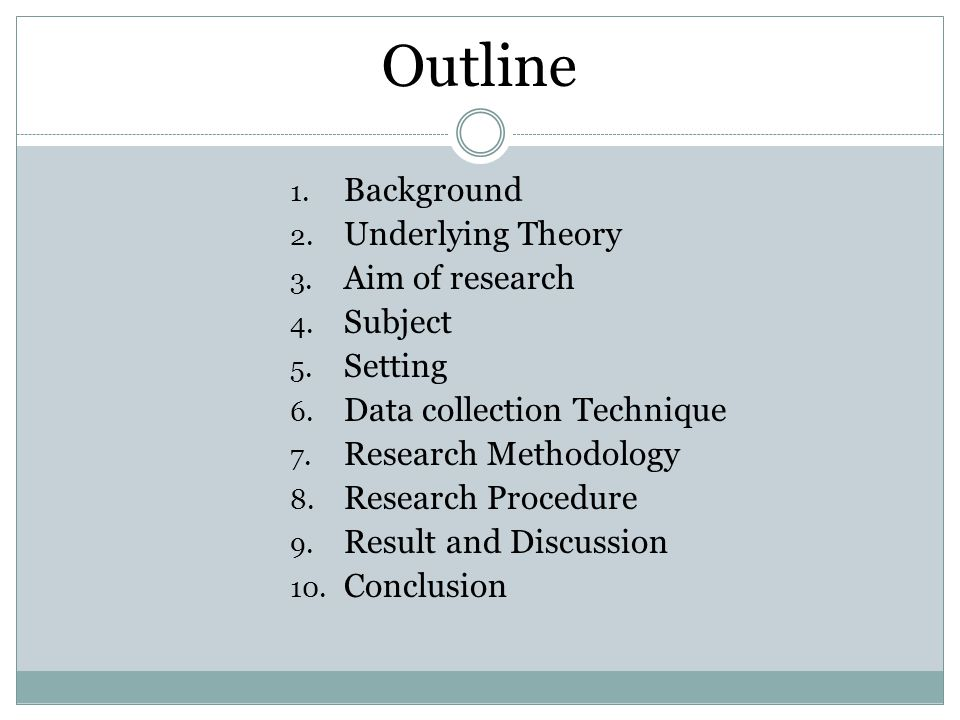 Outline Background Underlying Theory Aim of research Subject Setting