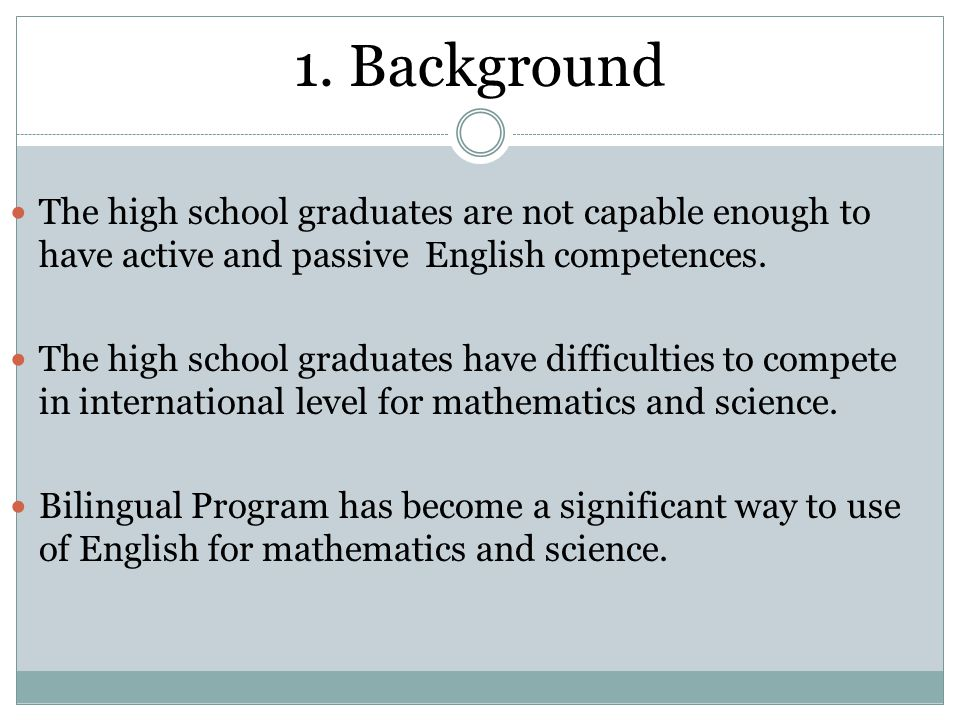 1. Background The high school graduates are not capable enough to have active and passive English competences.