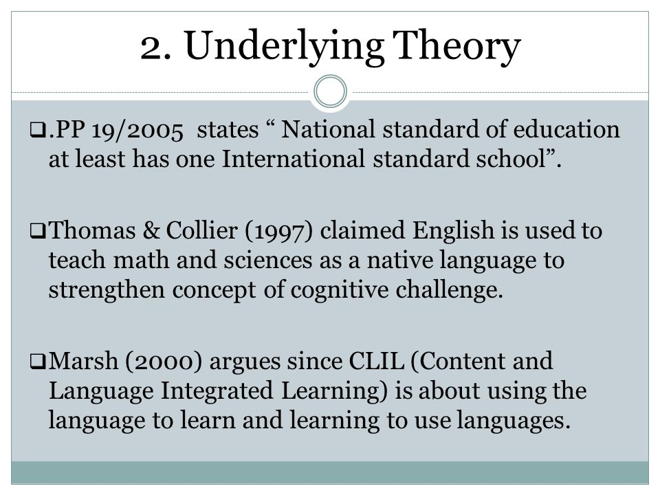 2. Underlying Theory .PP 19/2005 states National standard of education at least has one International standard school .