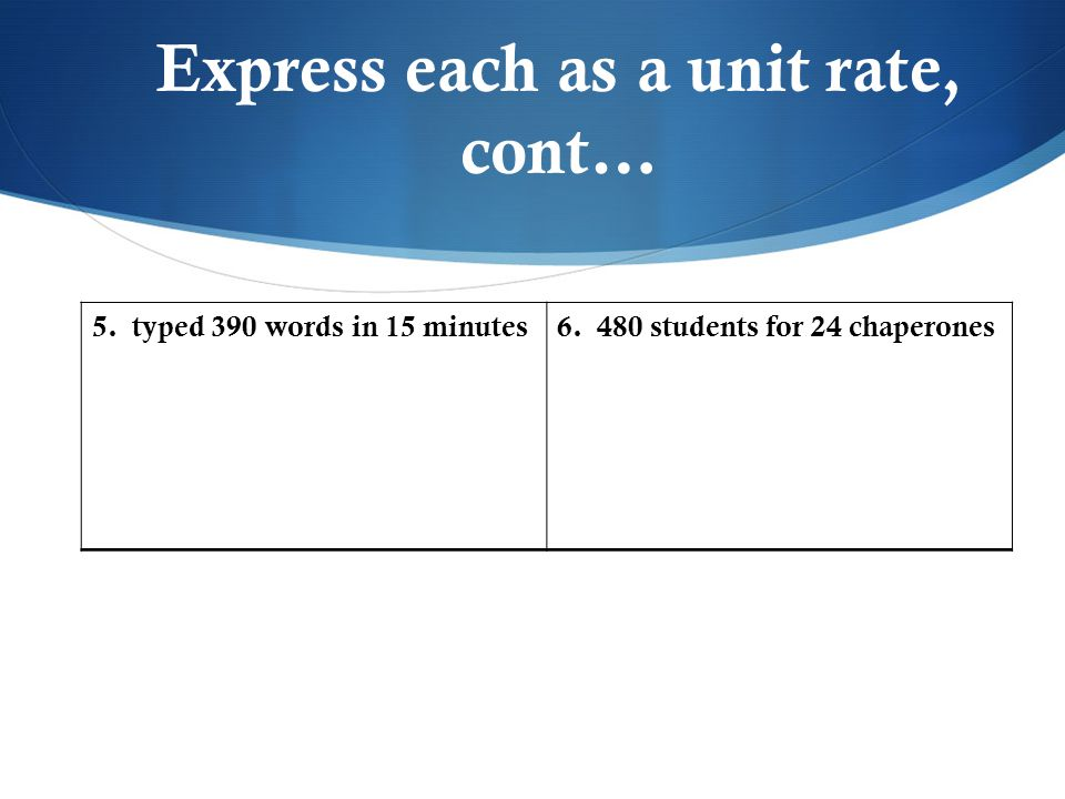 Express each as a unit rate, cont…