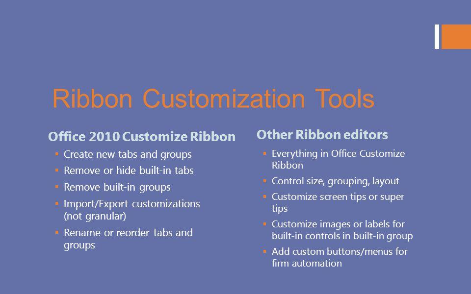 Ribbon Customization Tools