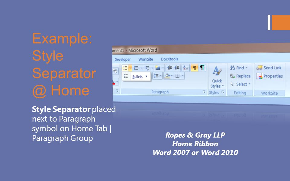 Example: Style Separator @ Home