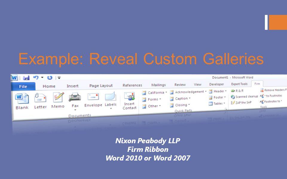 Example: Reveal Custom Galleries