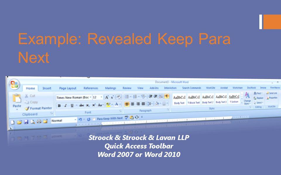 Example: Revealed Keep Para Next