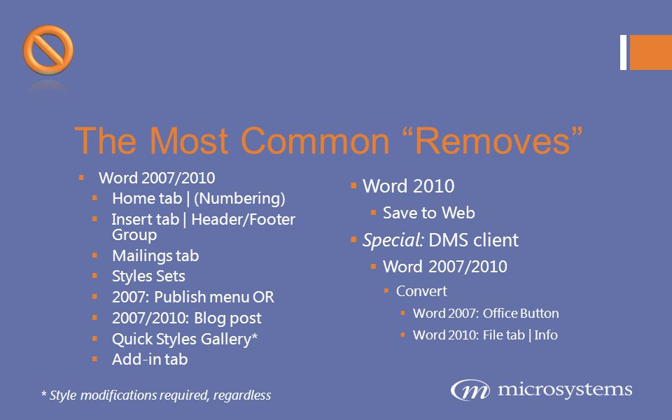 The Most Common Removes