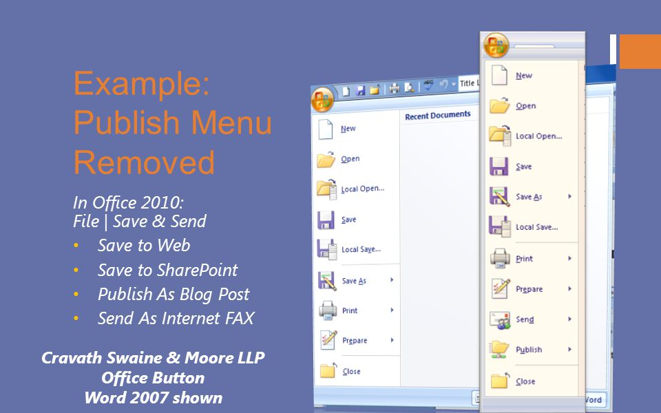 Example: Publish Menu Removed