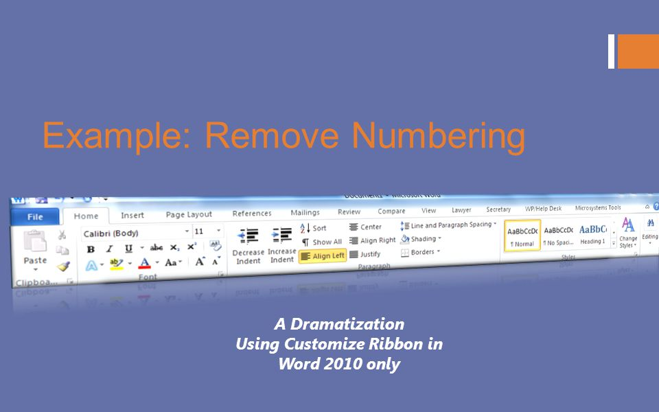 Example: Remove Numbering