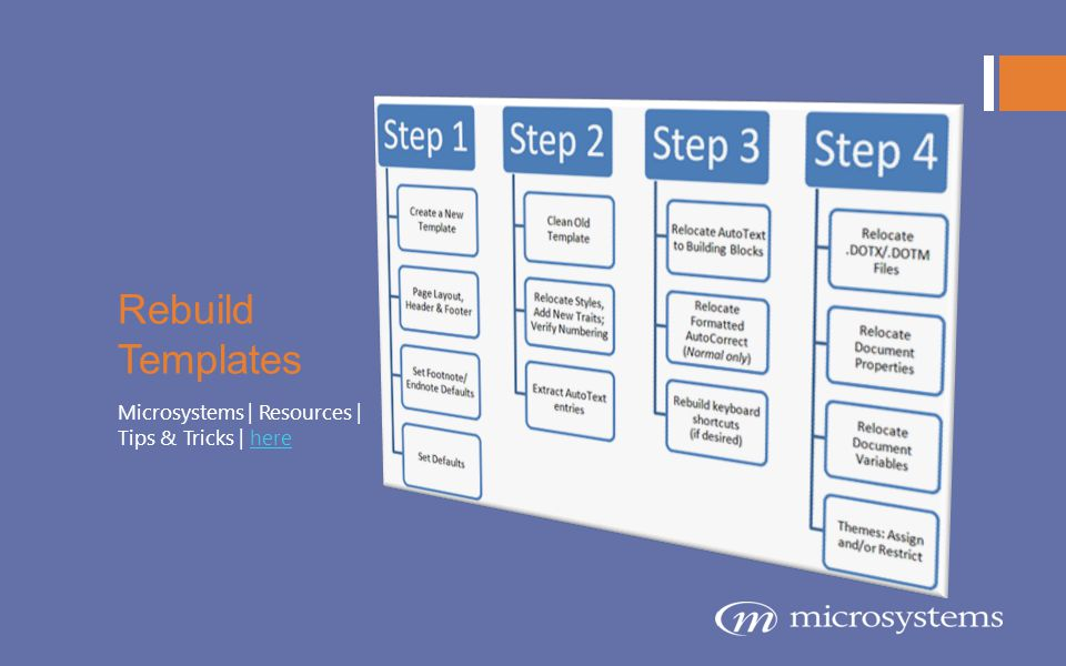 Rebuild Templates Microsystems | Resources | Tips & Tricks | here