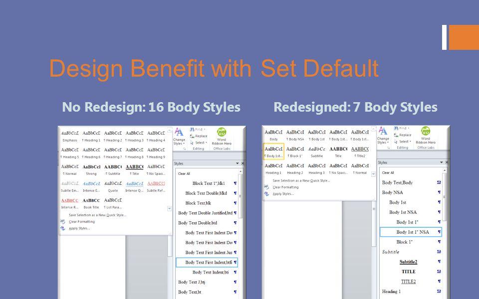 Design Benefit with Set Default