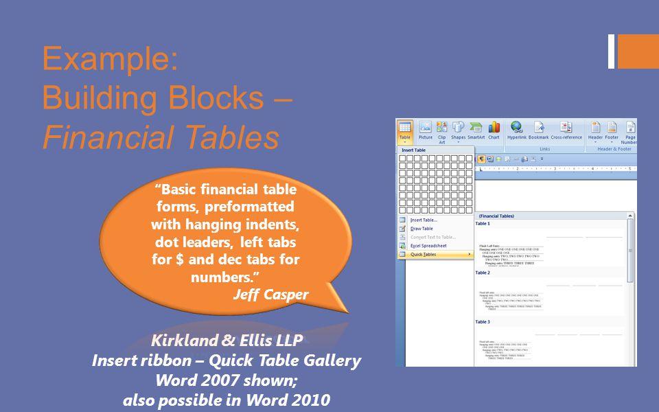 Example: Building Blocks – Financial Tables