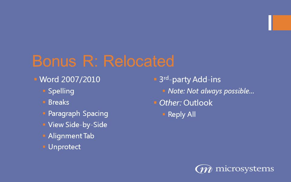 Bonus R: Relocated Word 2007/2010 3rd-party Add-ins Other: Outlook