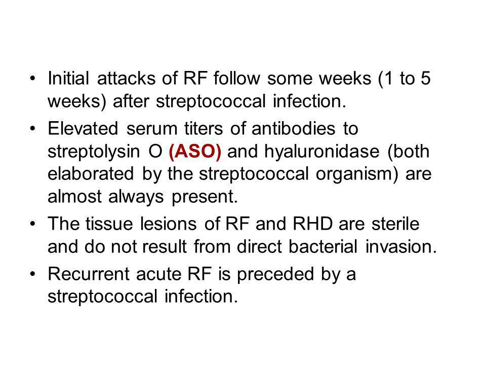 Initial attacks of RF follow some weeks (1 to 5 weeks) after streptococcal infection.