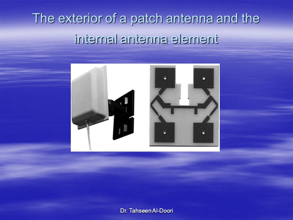 The exterior of a patch antenna and the internal antenna element