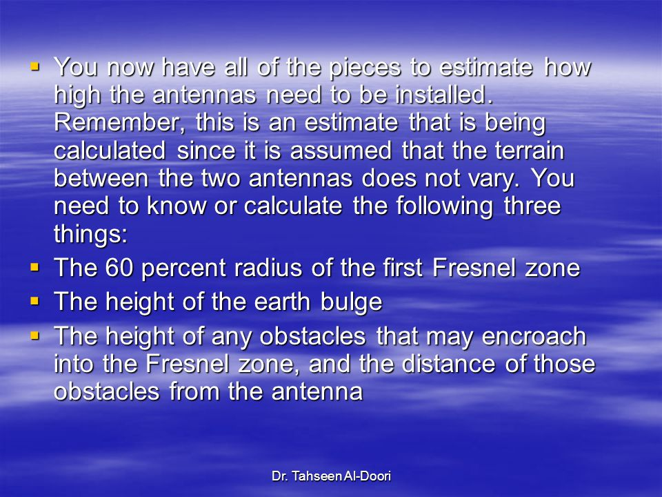 The 60 percent radius of the first Fresnel zone