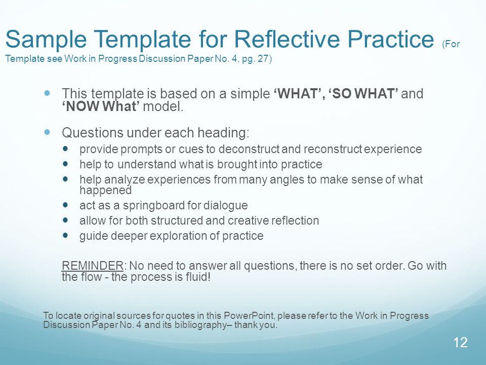 Sample Template for Reflective Practice (For Template see Work in Progress Discussion Paper No. 4, pg. 27)