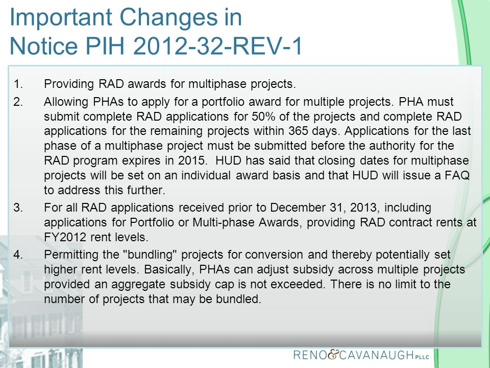 Important Changes in Notice PIH REV-1