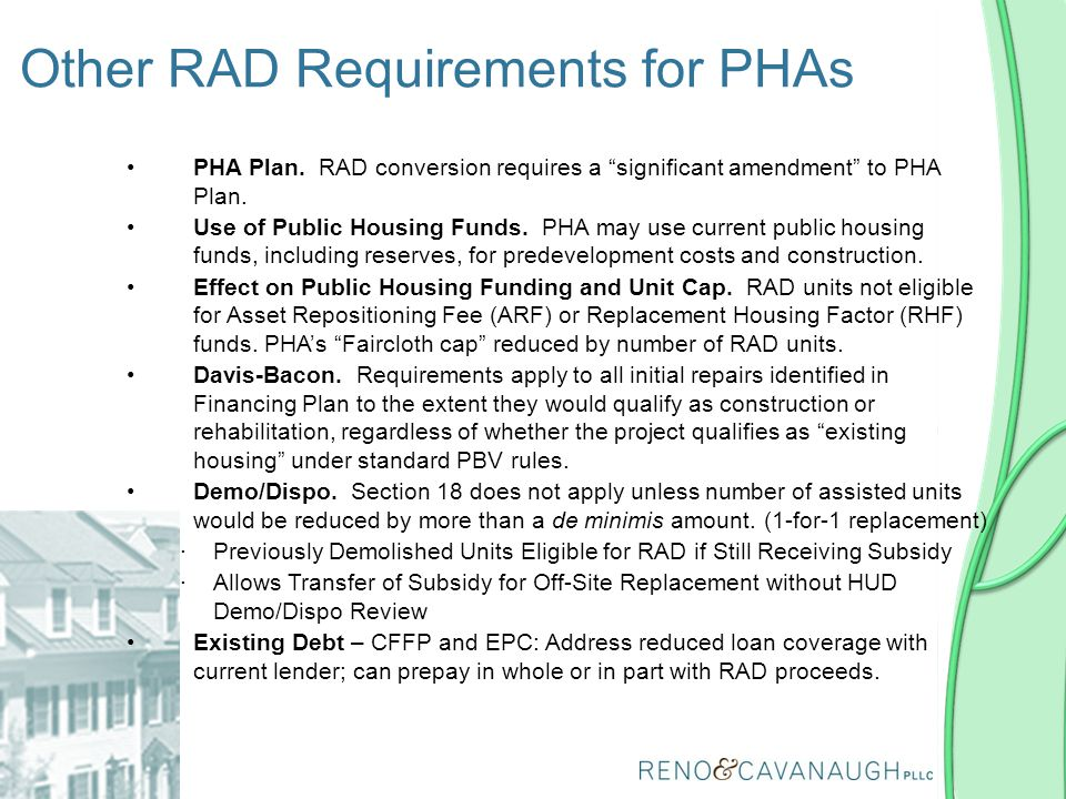 Other RAD Requirements for PHAs