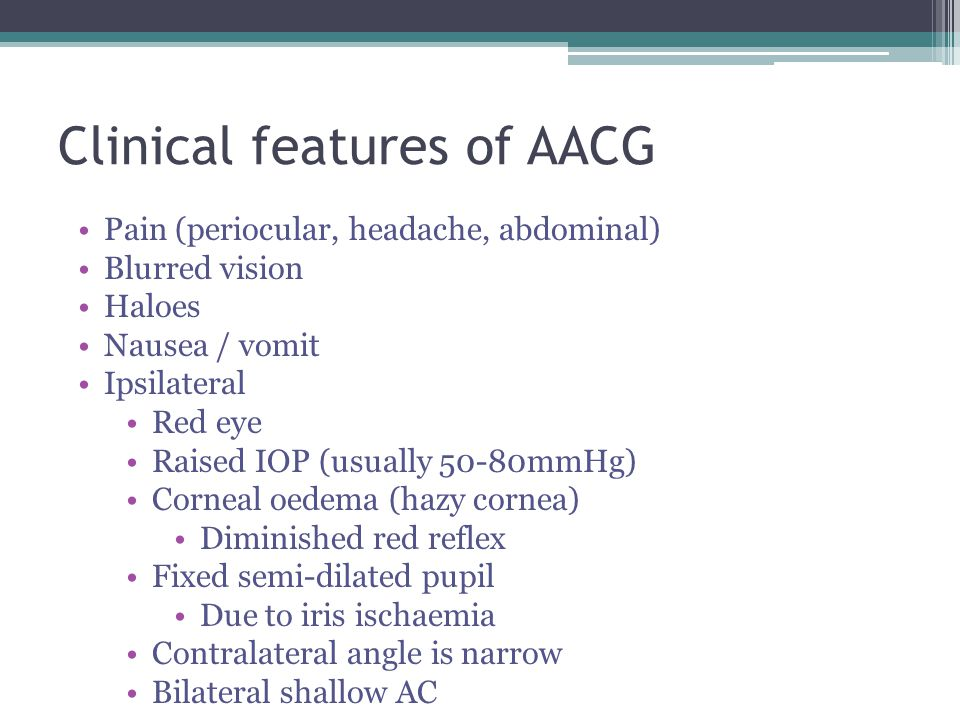 Clinical features of AACG