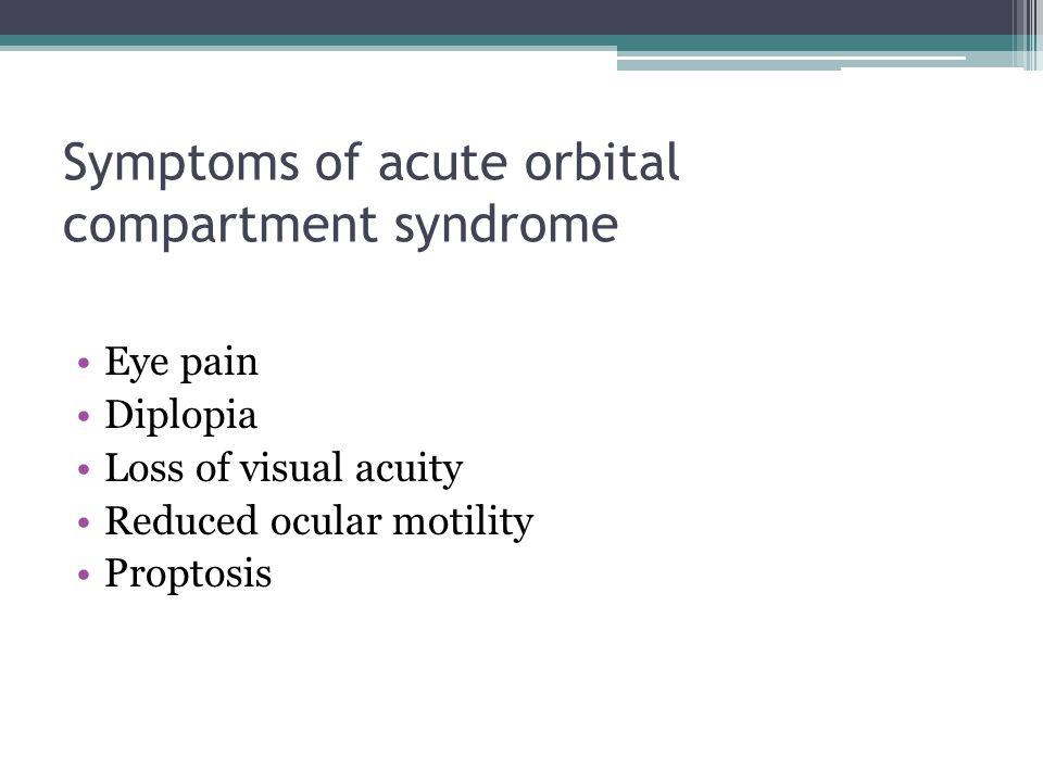 Symptoms of acute orbital compartment syndrome