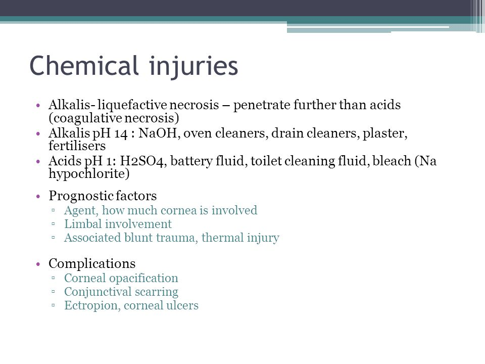 Chemical injuries Alkalis- liquefactive necrosis – penetrate further than acids (coagulative necrosis)