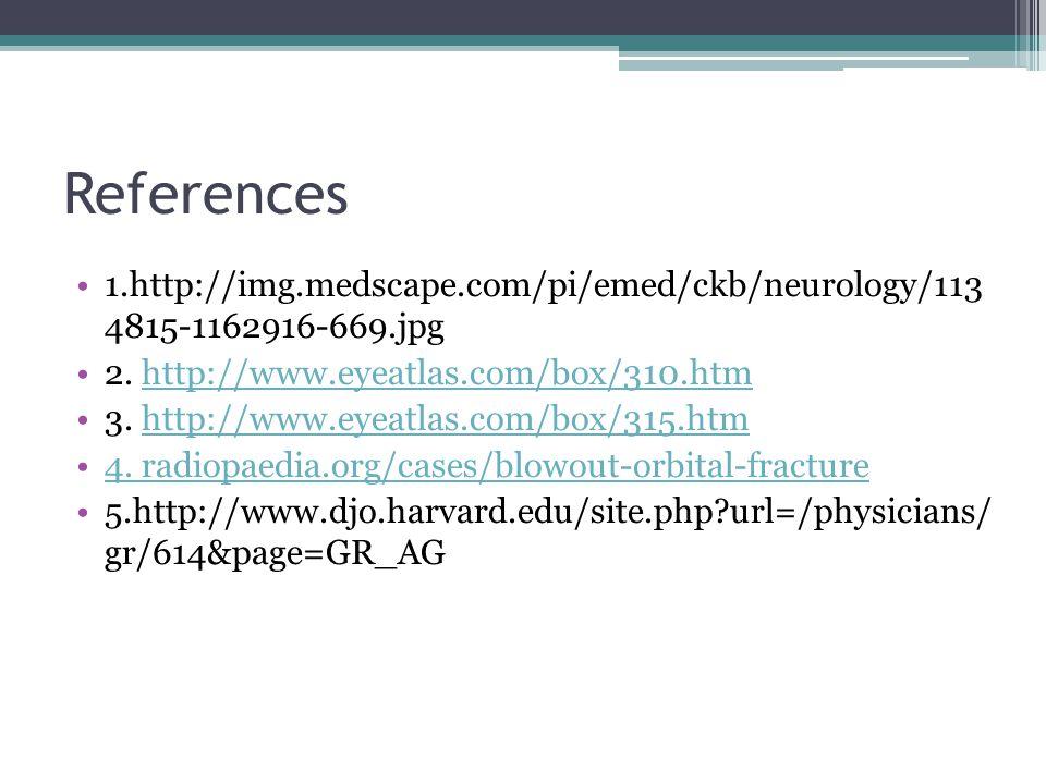References 1.http://img.medscape.com/pi/emed/ckb/neurology/113 4815-1162916-669.jpg. 2. http://www.eyeatlas.com/box/310.htm.