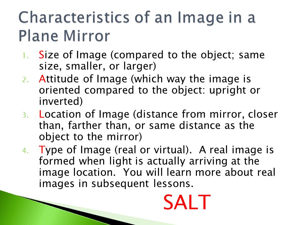 Characteristics of an Image in a Plane Mirror