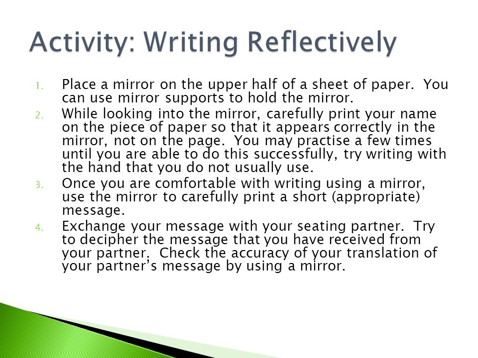 Activity: Writing Reflectively