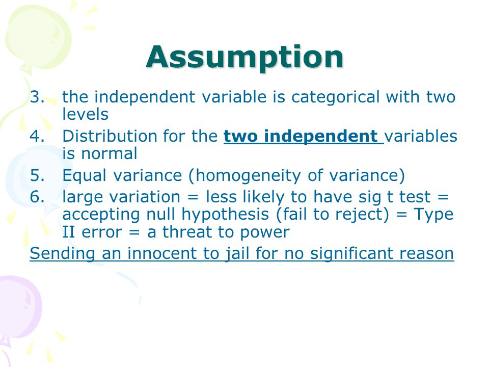 Assumption the independent variable is categorical with two levels
