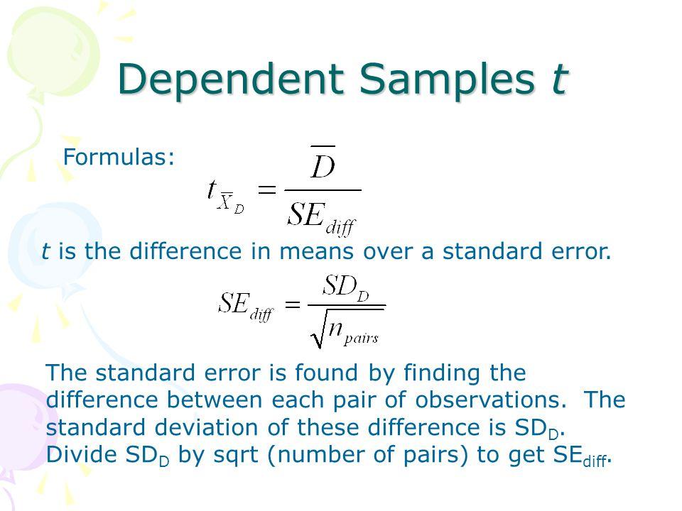 Dependent Samples t Formulas:
