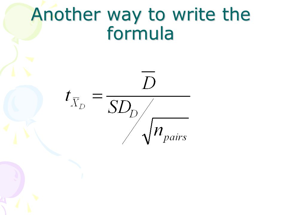Another way to write the formula