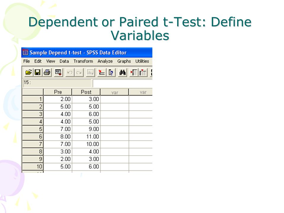 Dependent or Paired t-Test: Define Variables