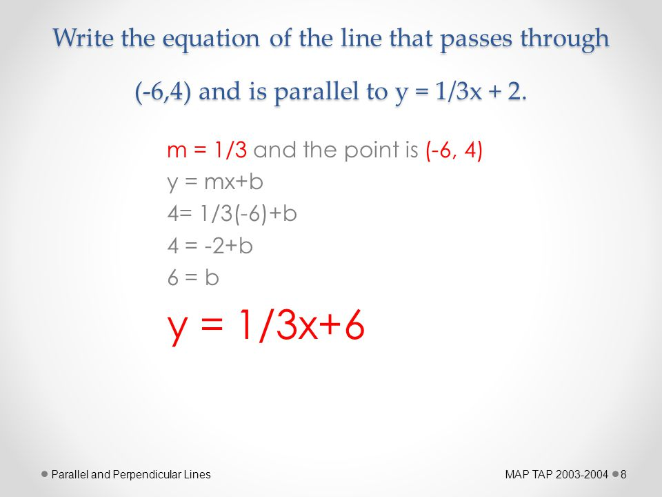 Write the equation of the line that passes through (-6,4) and is parallel to y = 1/3x + 2.