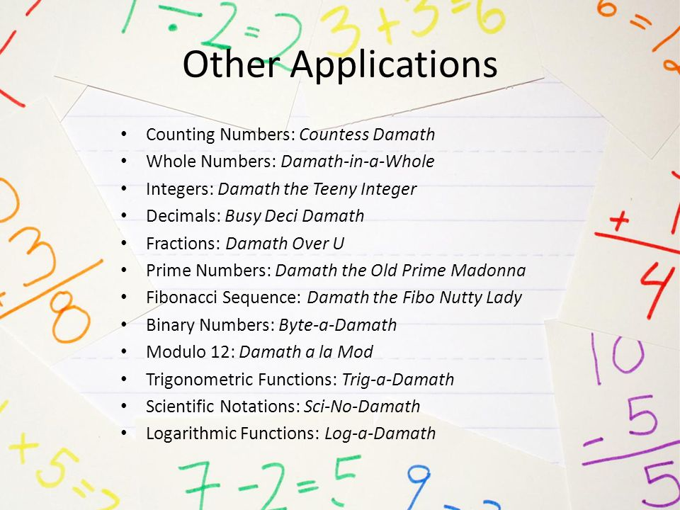 Other Applications Counting Numbers: Countess Damath