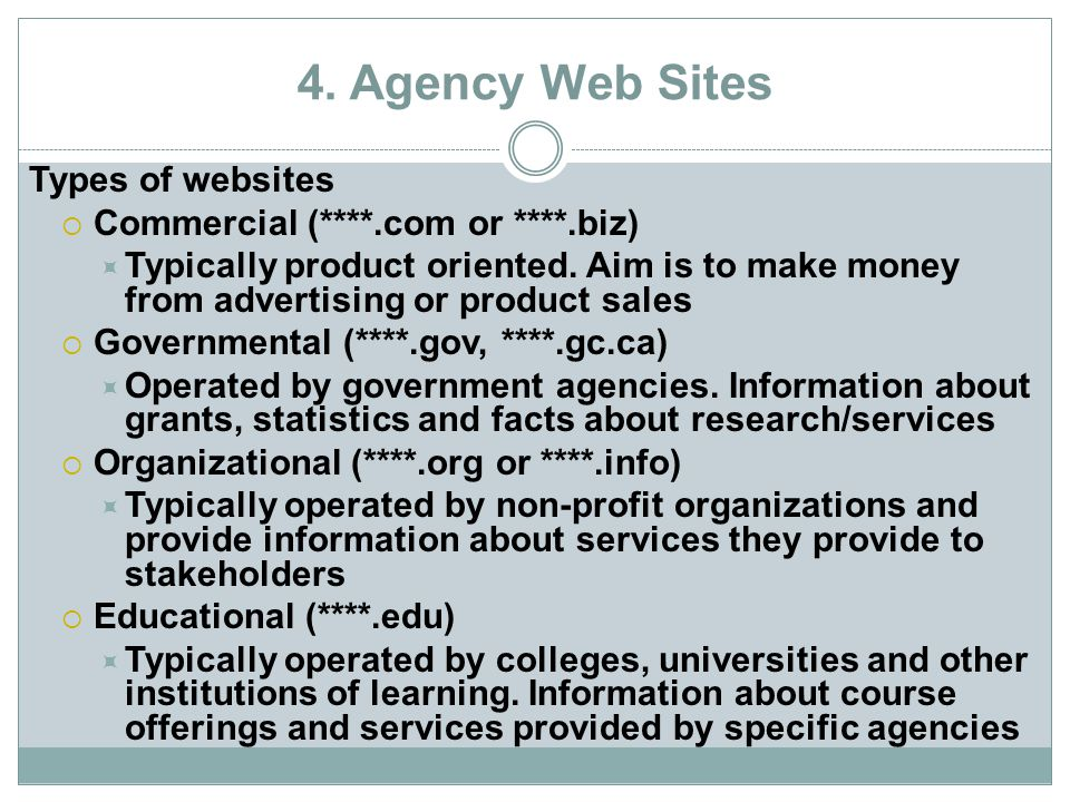 4. Agency Web Sites Types of websites