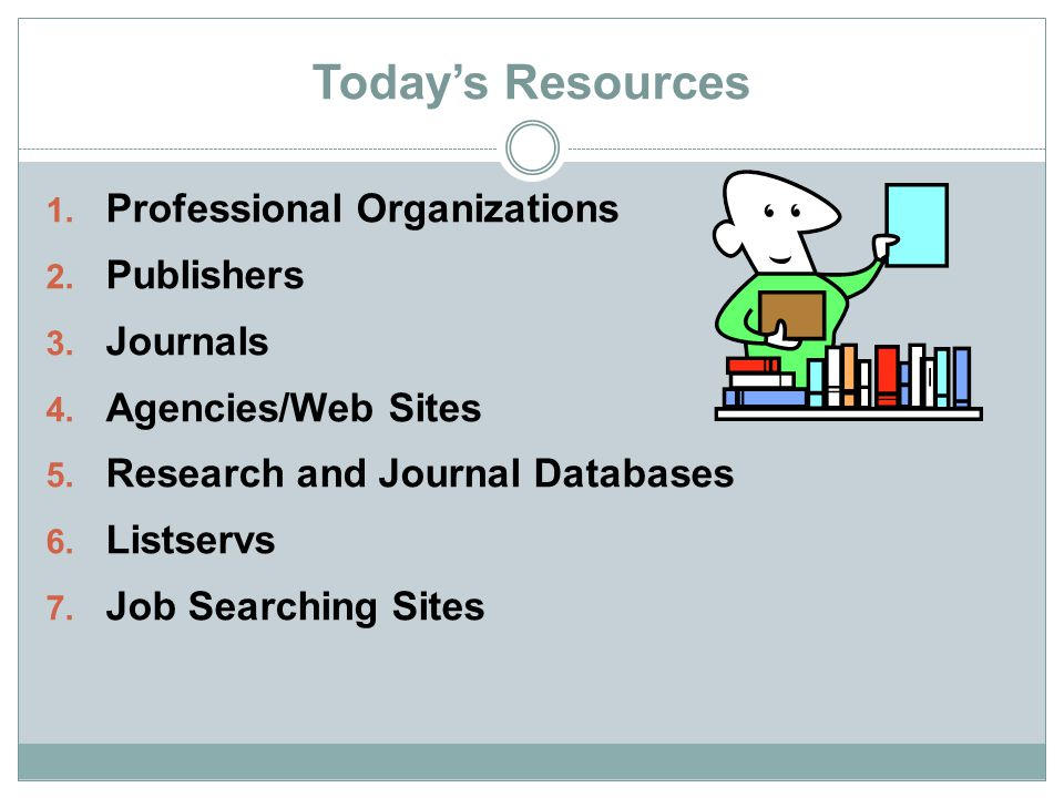 Today's Resources Professional Organizations Publishers Journals